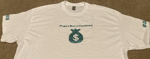 White T-Shirt (Green Ice Money Design)