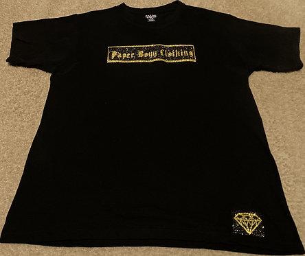 Black T-Shirt (Black & Gold Ice Design)