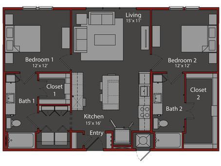 (Leased) 고급 아파트 리스(방2/욕실2) 월 $1,496