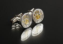 Round Cufflinks with Gold Infills