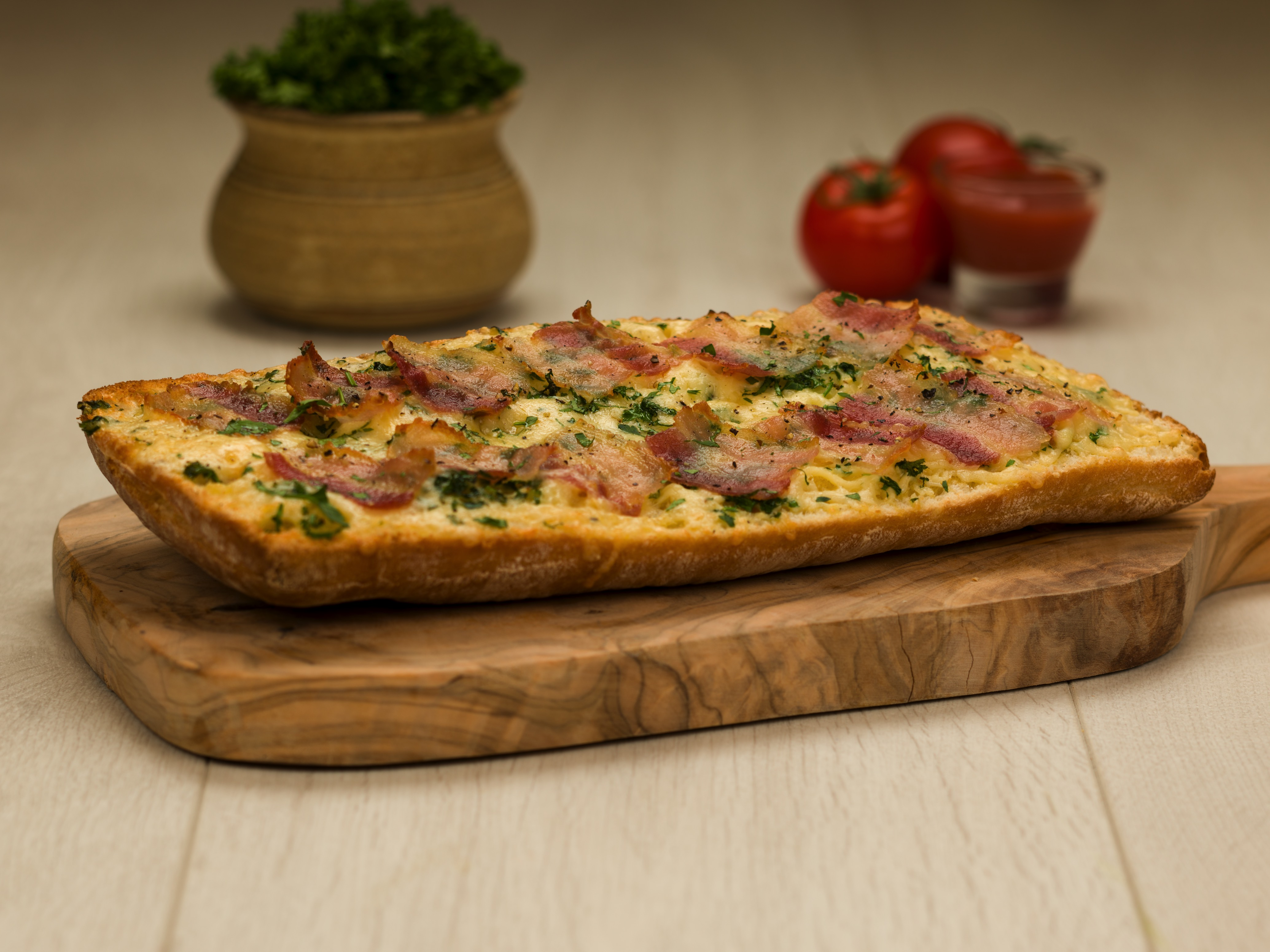 Smoked Bacon Pieces Flat Bread