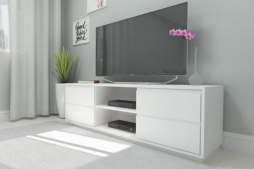 Rack Branco com gavetas laterais com espaço para aparelhos