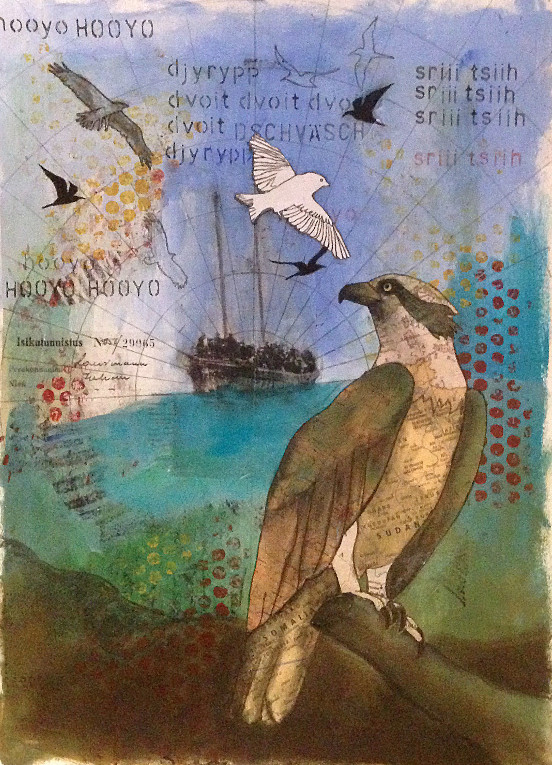 gloriavictoria art journal fåglar