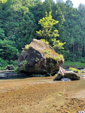 約100年前の冠水の原因となった大岩