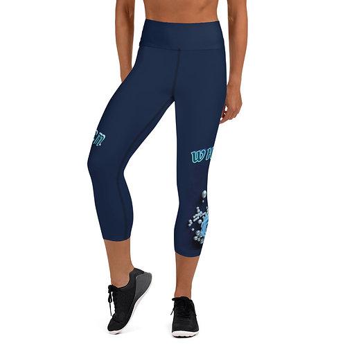 """Yoga Capri Leggings Navy Blue """"Queen Whisper"""""""