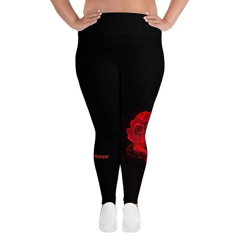 Plus Size Leggings Black - Red Rose