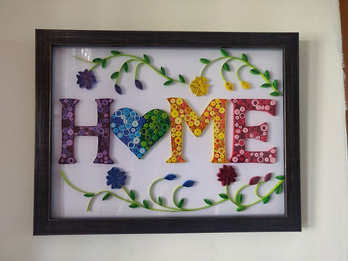 """Paper Quilling - Name Plate """"Home"""""""