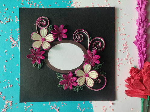 3D Paper Quilling Flowers - Picture Frame