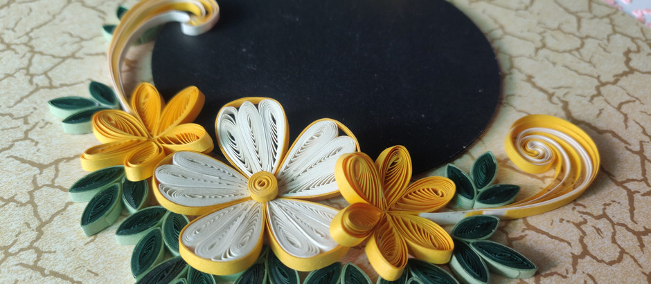 Paper Quilling 3D Flowers Picture Frame