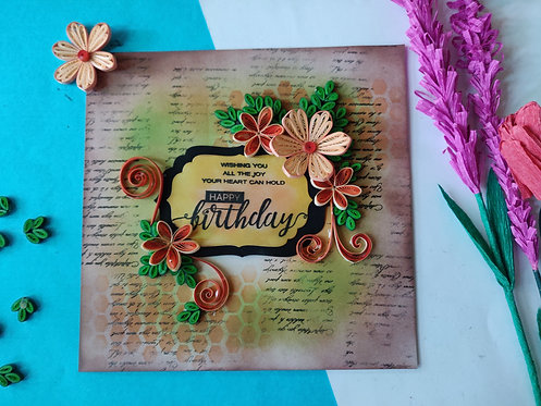 Paper Quilling Birthday Frame - Vintage