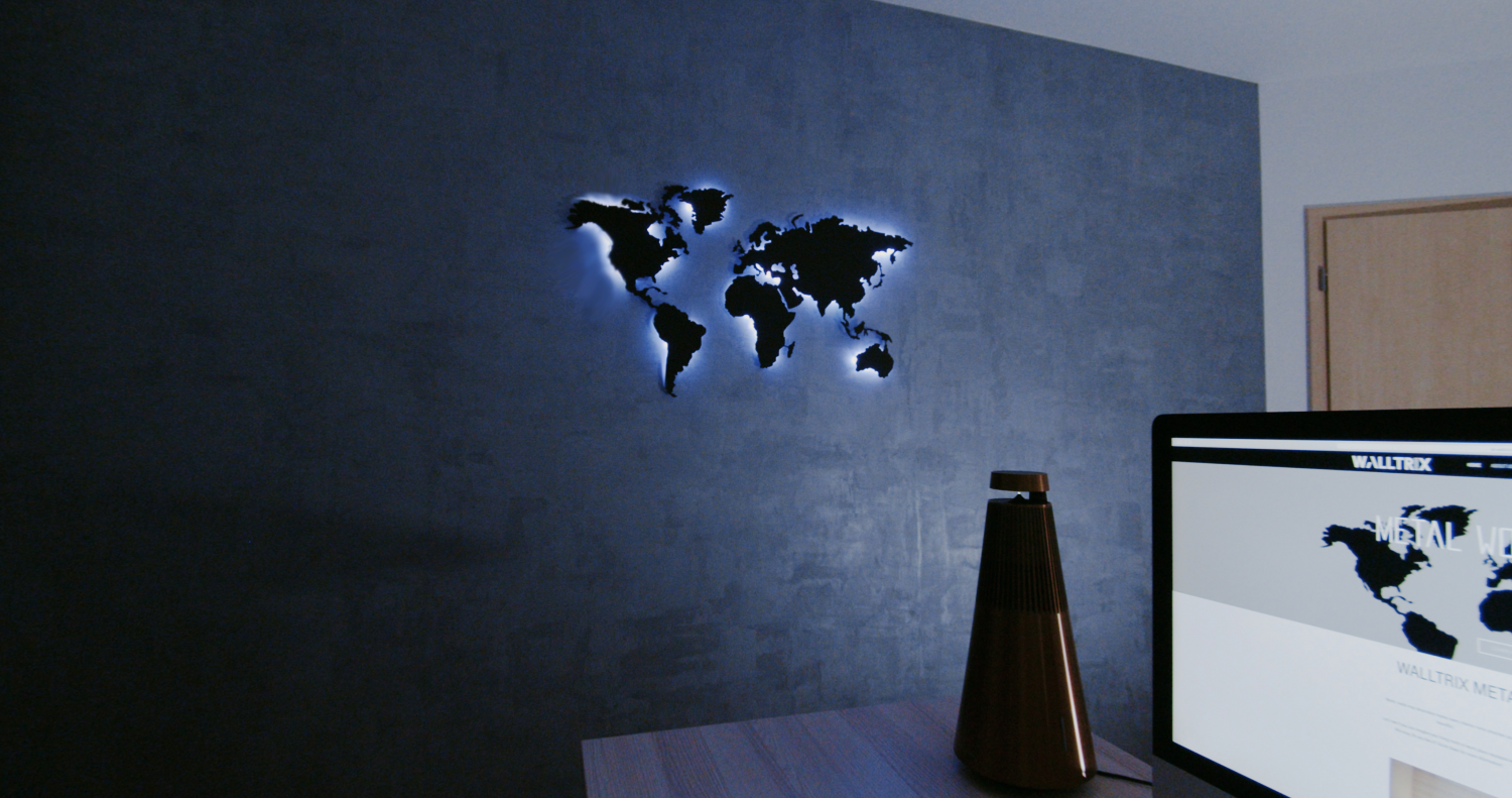metal map with lights