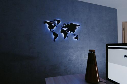 Kovová mapa světa + LED světelný systém