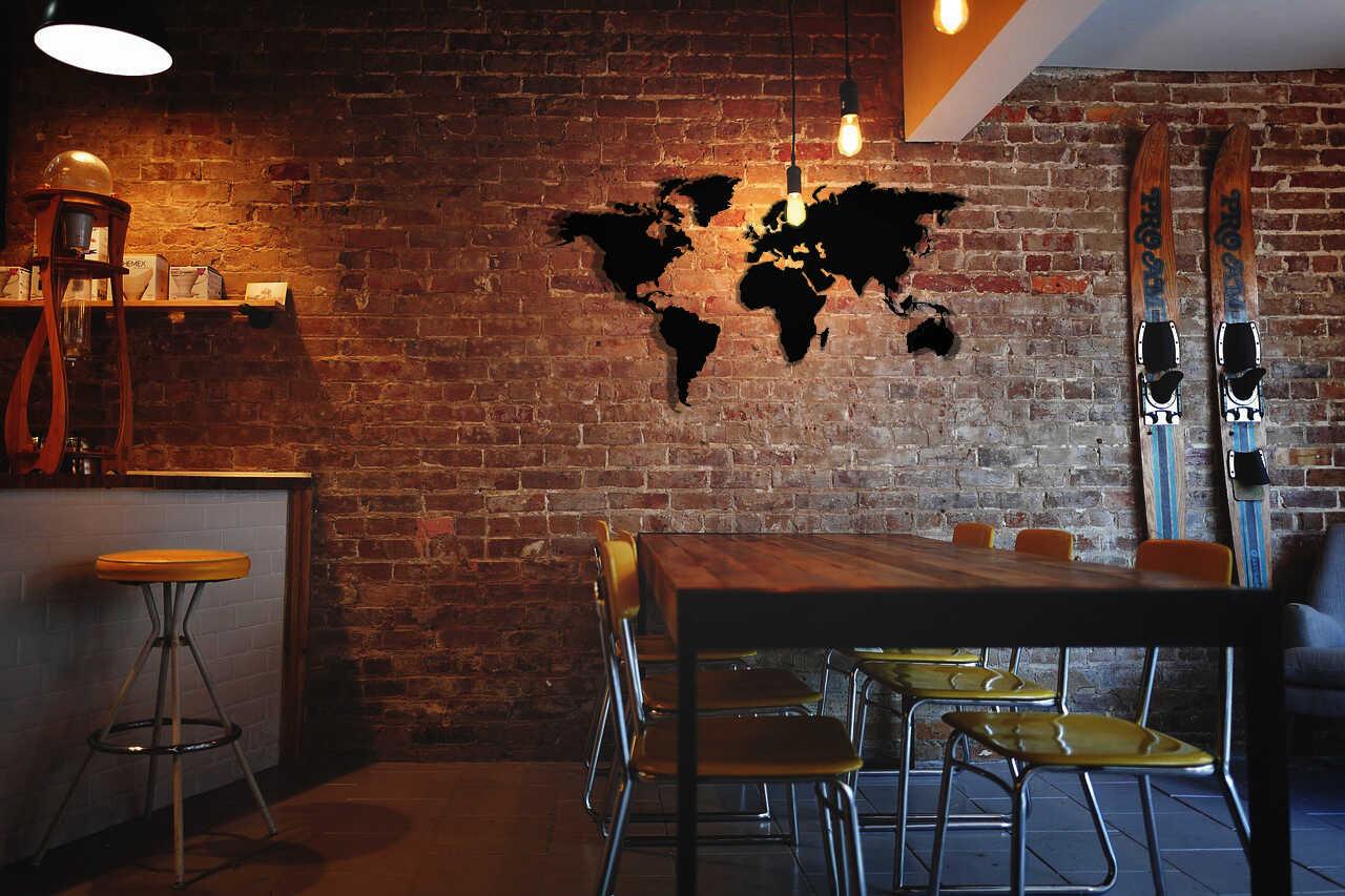 metal world map in kitchen