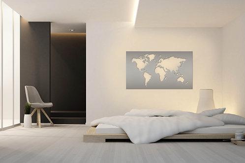 KOVOVÁ MAPA SVĚTA II + LED světelný systém