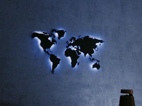 KOVOVÁ MAPA SVĚTA XL + LED světelný systém