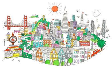 太陽と町並みのイラスト