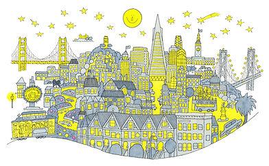 月と星と夜の町並みのイラスト