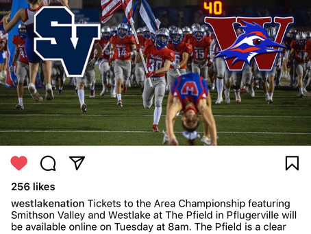 Chap Football Vs Smithson Valley for Area Championship this Friday in PVille