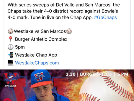 Chaps Baseball Sweeps Del Valle & San Marcos for a 4-0 Record Heading Into Also 4-0 Bowie