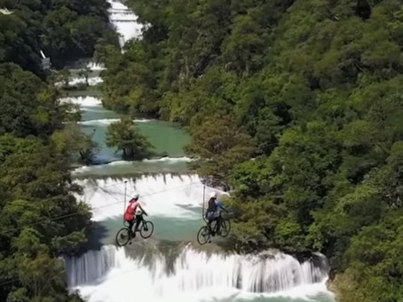 Biking on a String Over Water