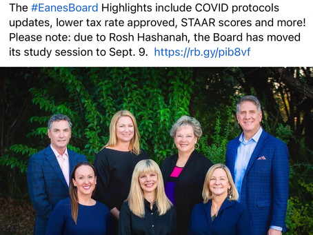 Eanes Board Updates-Lower Taxes, COVID Updates, STAAR Scores & More