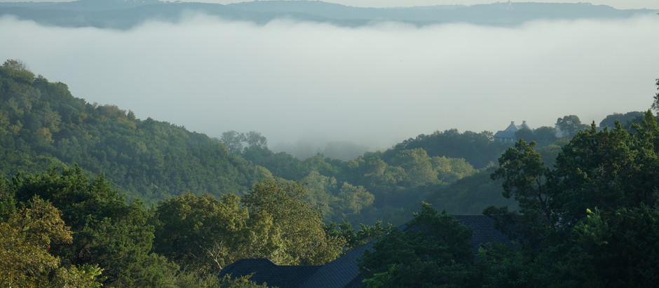 Hill Country-Morning Fog Covers River Valley