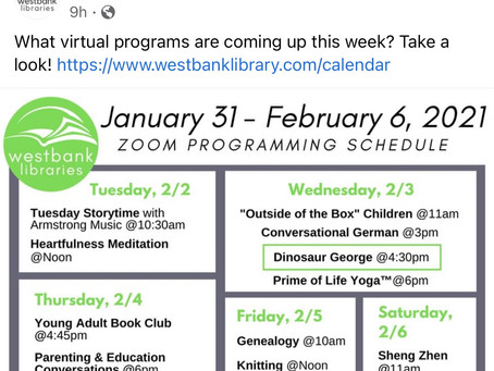 Westlake Libraries Zoom Schedule