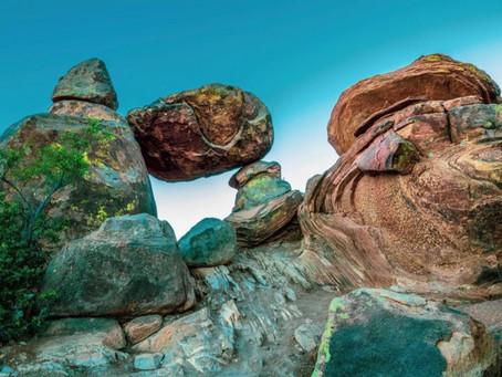 Big Bend Purple Cacti & Balance Rock