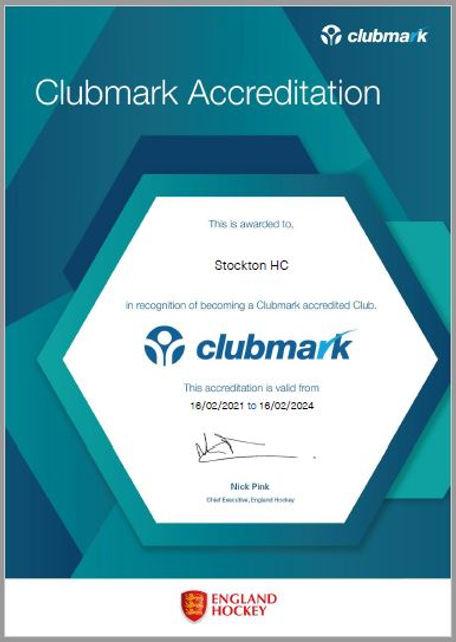 Clubmark Certificate - Stockton HC.JPG
