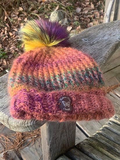 Multi-Colour Hat w Multi-Colour Fur Pom Pom-Adult