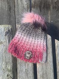 Grey/Pink w Fur Pom Pom