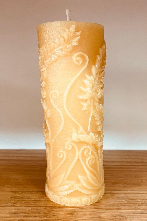 "FLORAL  FERN LEAF Pillar 6.75"" Tall, 100% Pure Natural Yellow Beeswax , Long Bur"
