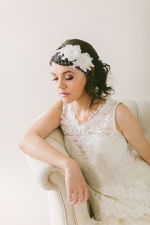 Lace Headband Veil with Silk Flowers