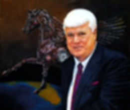 TLNPG inductee and founder of Romano Law Group John Romano seated infront of Trojan Horse Seminar logo and an areal view of Florida