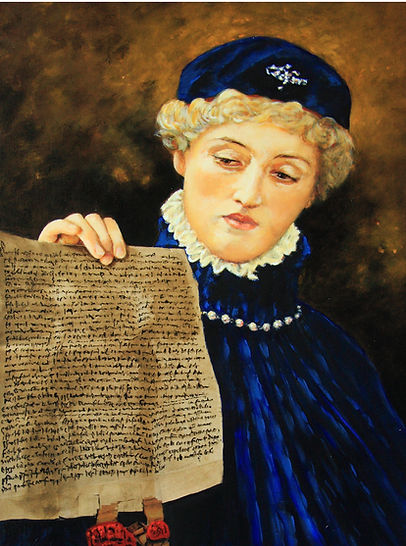 """20""""x24 portrait of Portia holding letter of the law during shakespearean play The Merchant of Venice"""