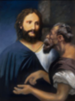 Jesus Christ Tribute Money panted portrait of Jesus talking to Caesar .
