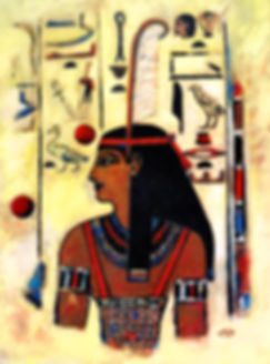 "12""x18"" panted portrait of Maat. Misstress of the underworld, Ancient Egypt"