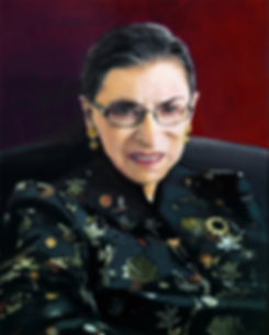 Painting of Ruth B. Ginsburg TLNPG inductee sitting on a chair behind red background wearing floral blouse.
