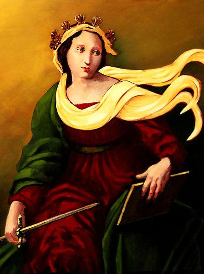 18x18 painted portrait of Themis.Saving Goddess. Ancient Greek.