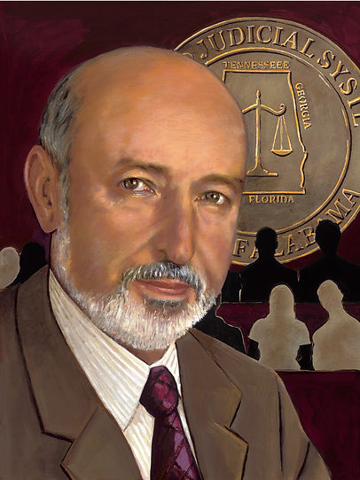 An acrylic painting of pesonal injury lawyer Gregory Cusimano in a brown suit white shirt and burgundy tie
