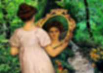 Thumbnail Painting of Conscience holding mirror look at her reflection standing in forest path