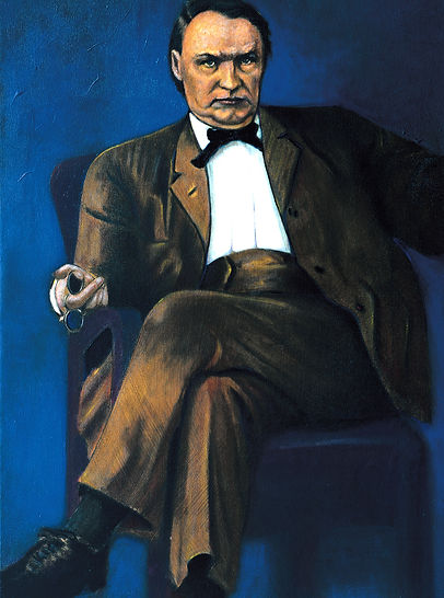 Clarence Darrow, painting. Sitting in chair brown suit