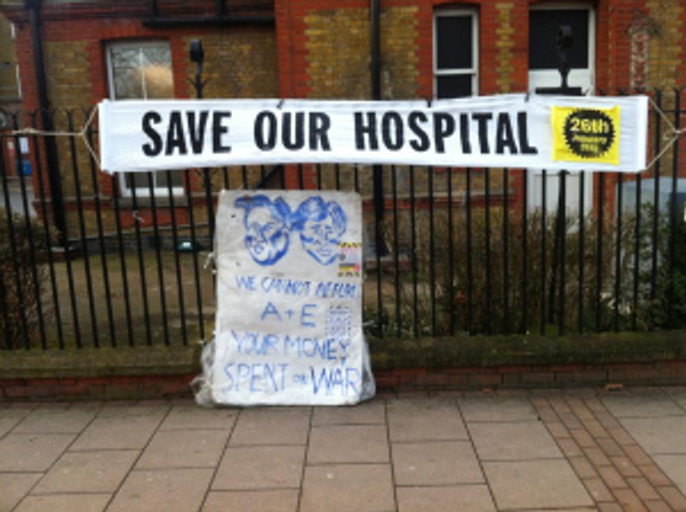 Banner outside Lewisham Hospital
