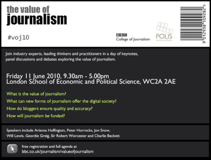Flyer for Value of Journalism event