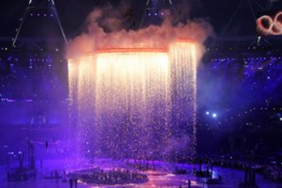 Steel forged Olympic rings rise at 2012 opening ceremony