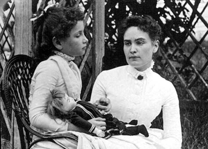 Helen Keller as a child with Anne Sullivan