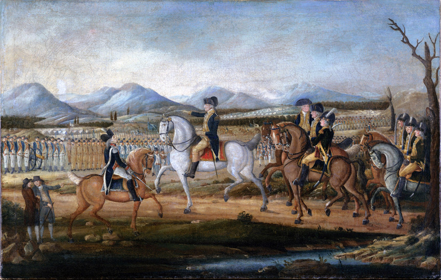 Painting of George Washington and the Whiskey Rebellion