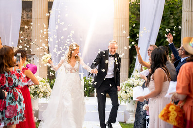 Petal throwing after Wedding Ceremony