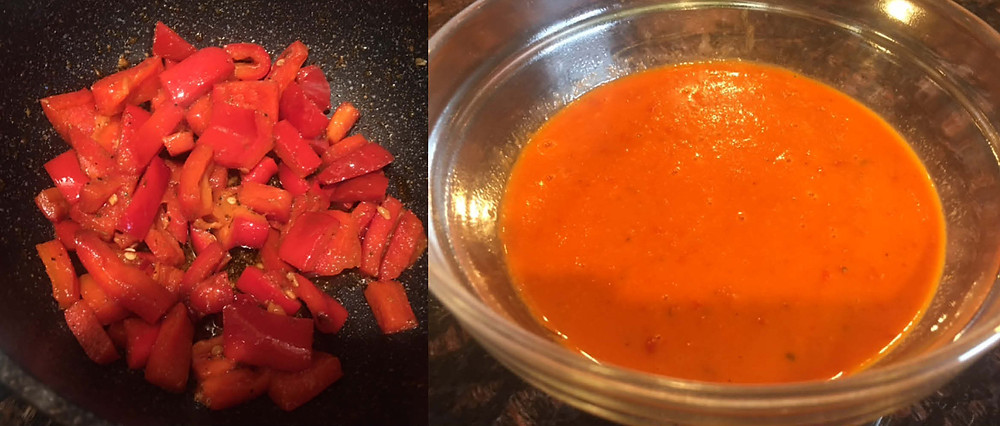 A. Red pepper sauted.  B. Red pepper sauce