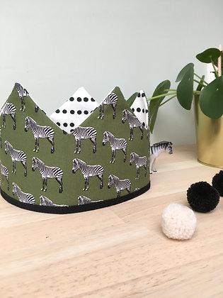 Kroon khaki zebra/wit met zwarte bolletjes